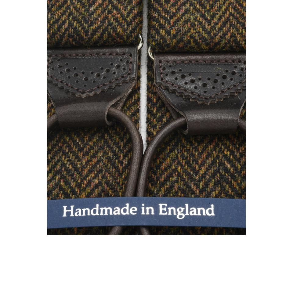 Amidé Hadelin | Holland & Sherry herringbone tweed braces - dark brown_detail
