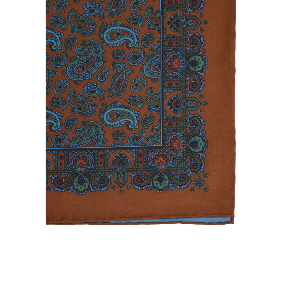 Amidé Hadelin | Handprinted ancient madder pocket square paisley, burnt orange_detail