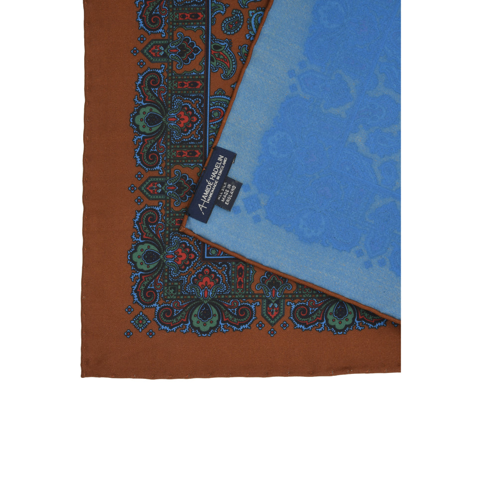 Amidé Hadelin | Handprinted ancient madder pocket square paisley, burnt orange_back