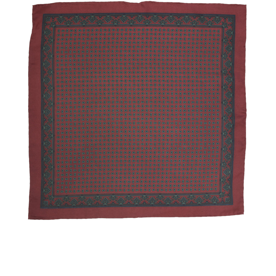 Amidé Hadelin | Handprinted ancient madder pocket square pine, burgundy_full