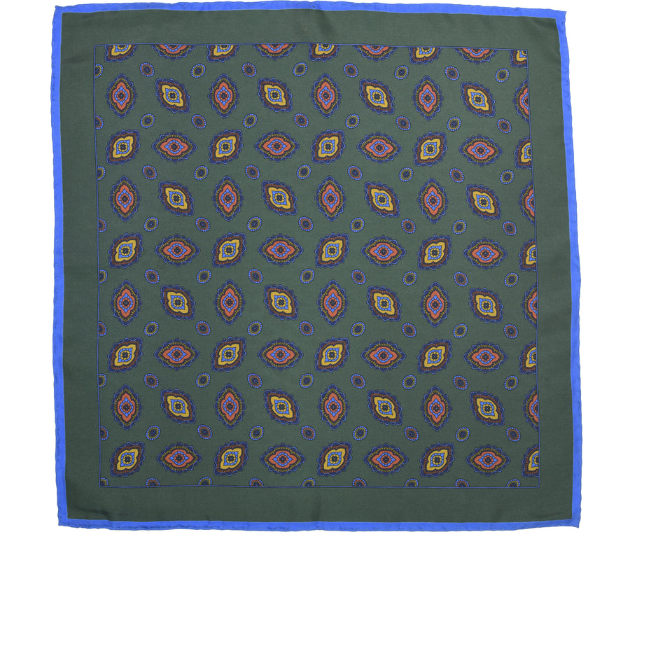 Amidé Hadelin | Handprinted silk pocket square, dark green_full