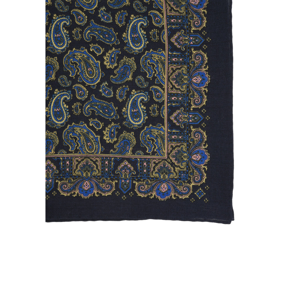 Amidé Hadelin | Handprinted wool/silk pocket square, navy_detail