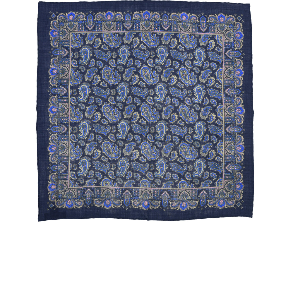 Amidé Hadelin | Handprinted wool/silk pocket square, navy_full