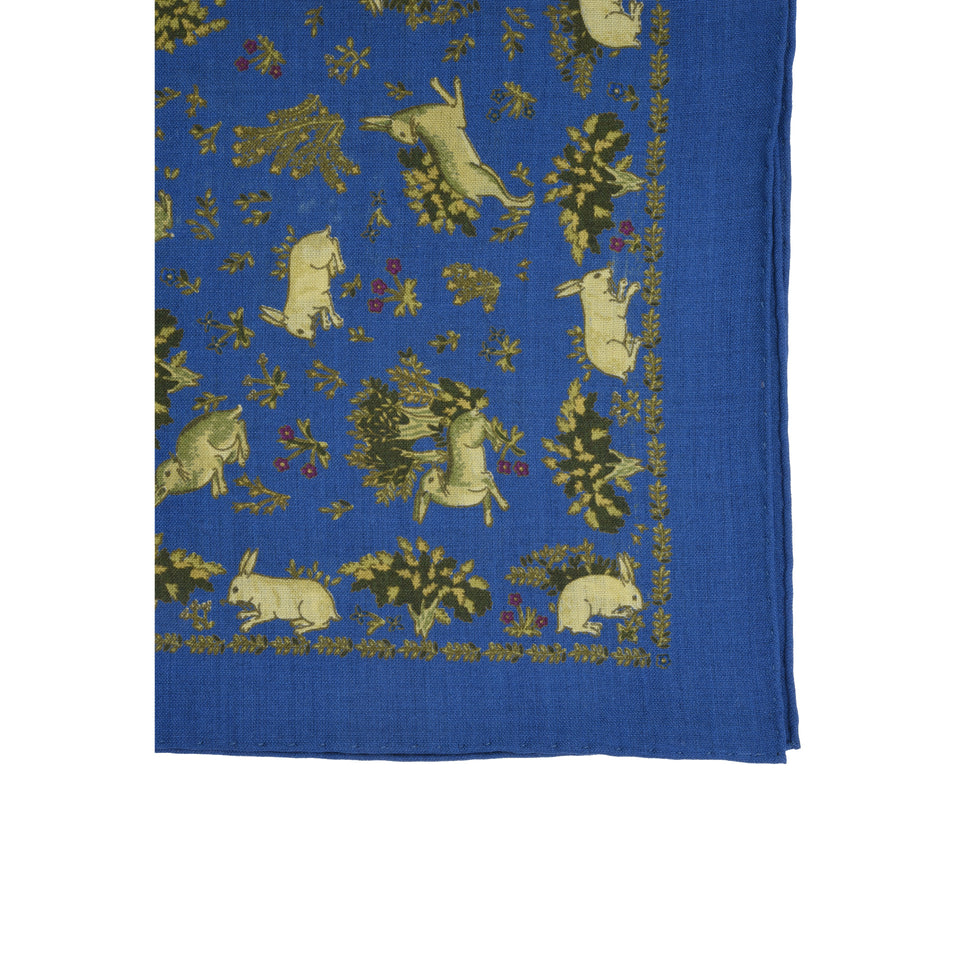 Amidé Hadelin | Handprinted wool/silk pocket square hares, blue_detail