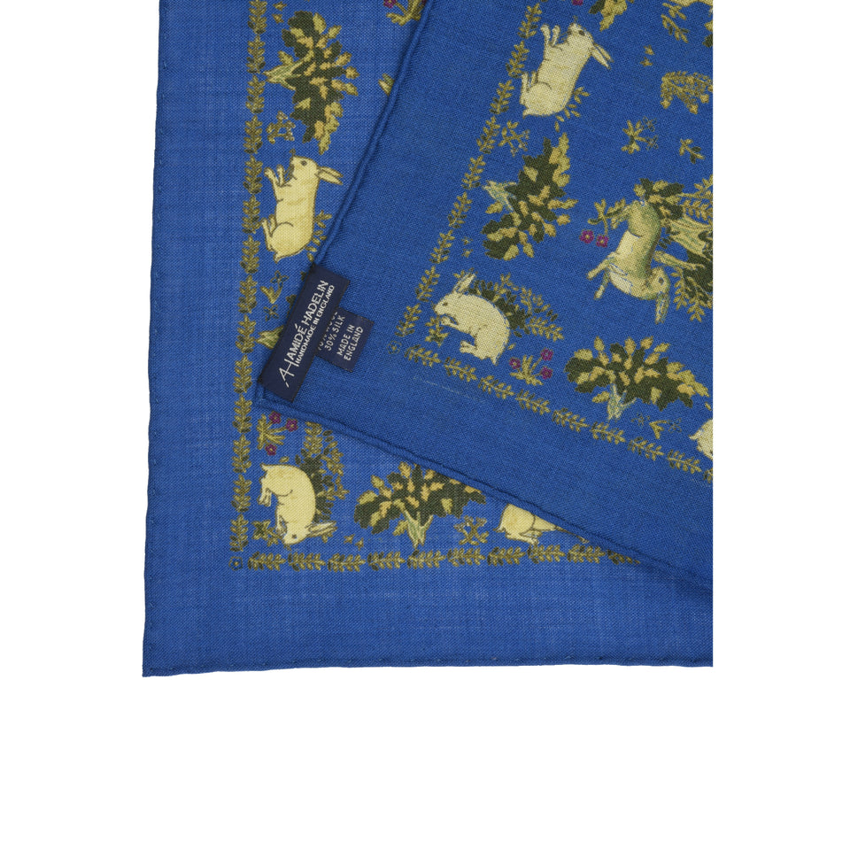Amidé Hadelin | Handprinted wool/silk pocket square hares, blue_back
