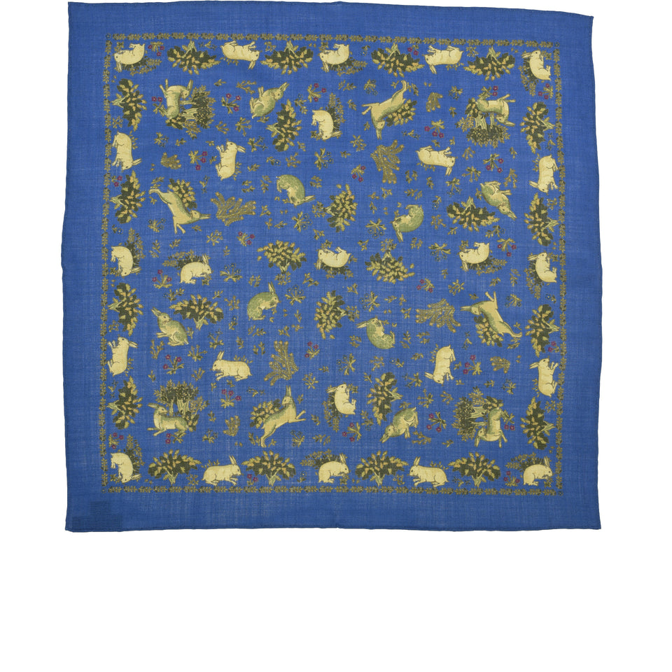 Amidé Hadelin | Handprinted wool/silk pocket square hares, blue_full