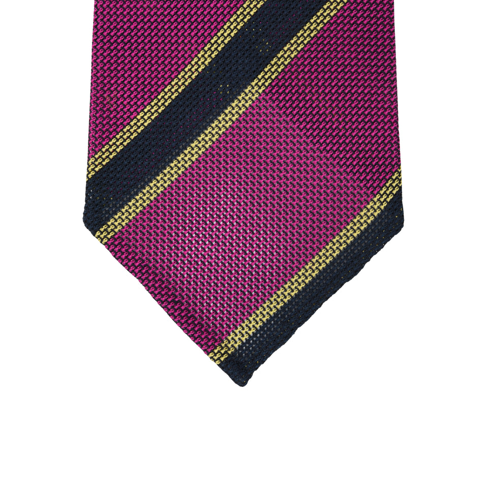 Orange Label | Striped grenadine tie - cherry/navy_tip