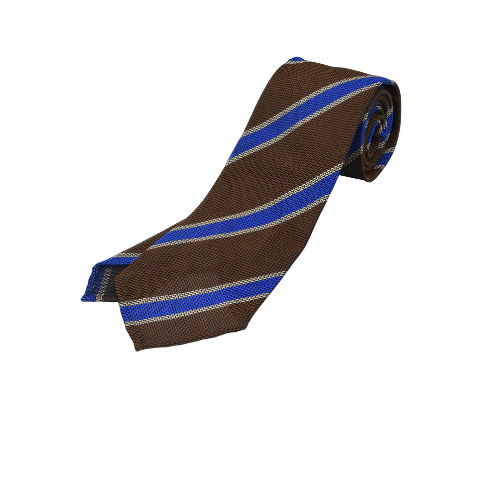 Orange Label | Striped grenadine tie - brown/blue_full