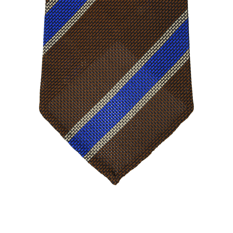 Orange Label | Striped grenadine tie - brown/blue_tip