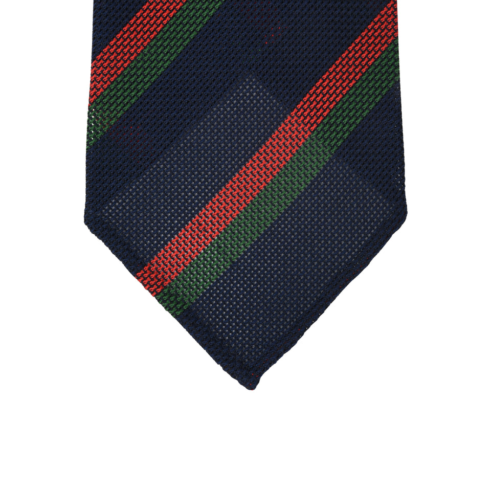 Orange Label | Striped grenadine tie - navy_tip