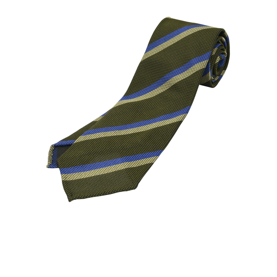 Orange Label | Striped grenadine tie - olive_full