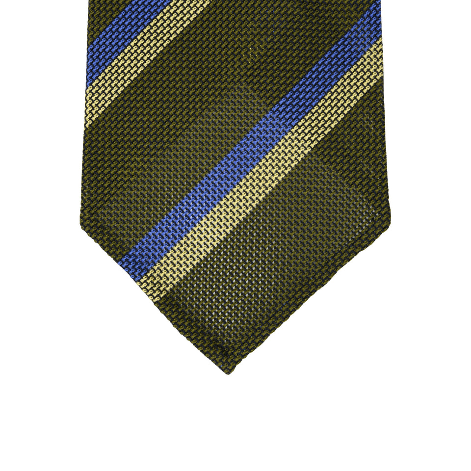 Orange Label | Striped grenadine tie - olive_tip