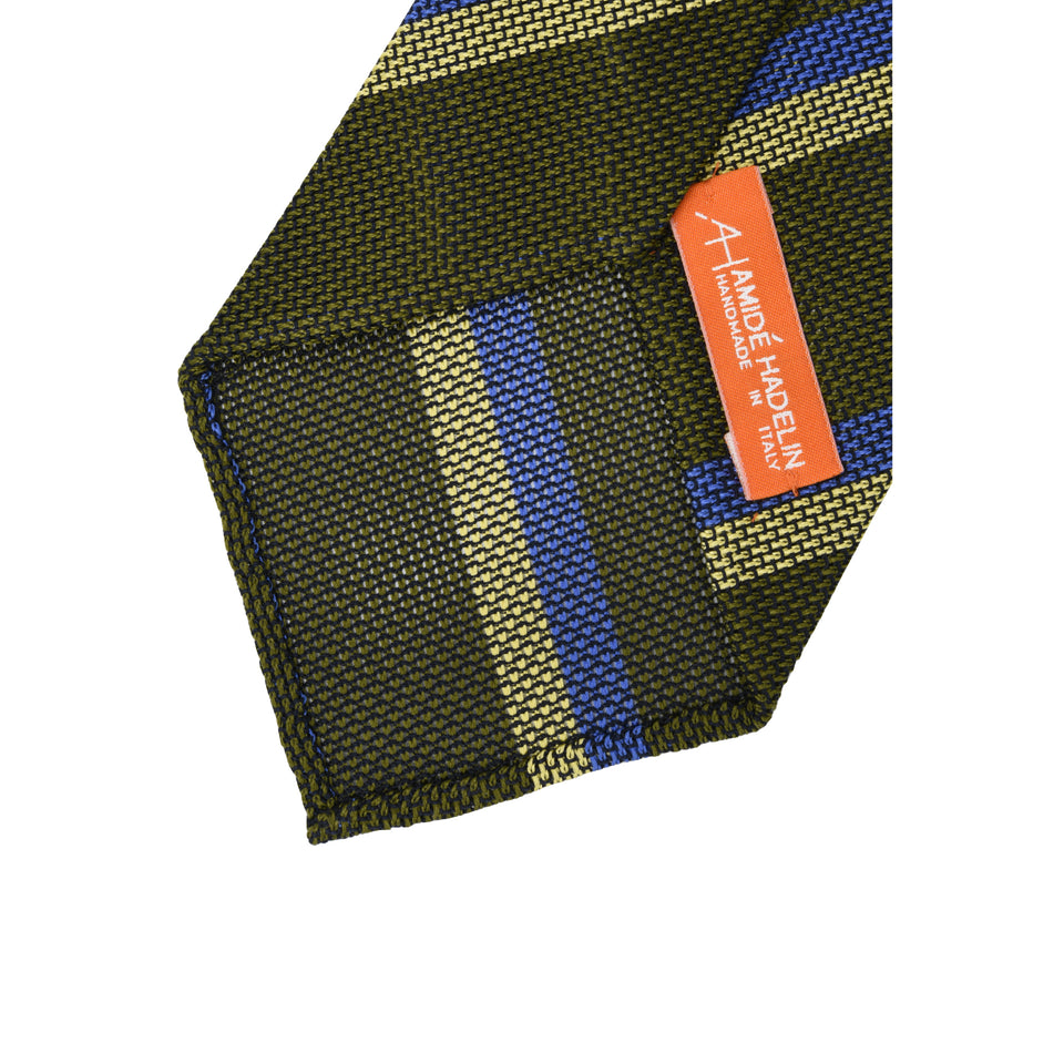 Orange Label | Striped grenadine tie - olive_back