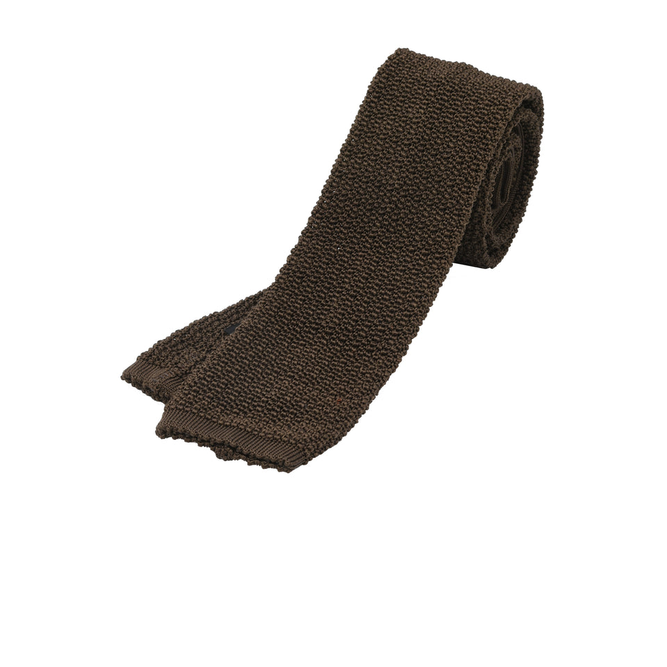 Orange Label | knit silk tie, brown_full