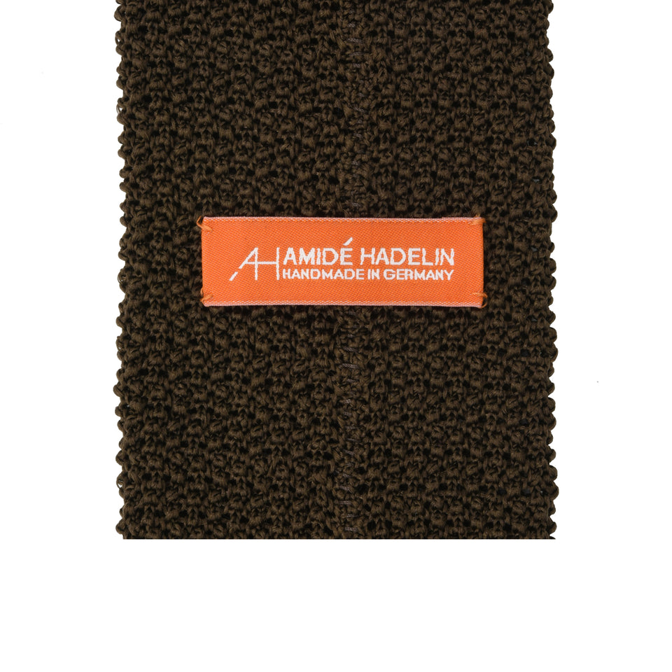 Orange Label | knit silk tie, brown_back