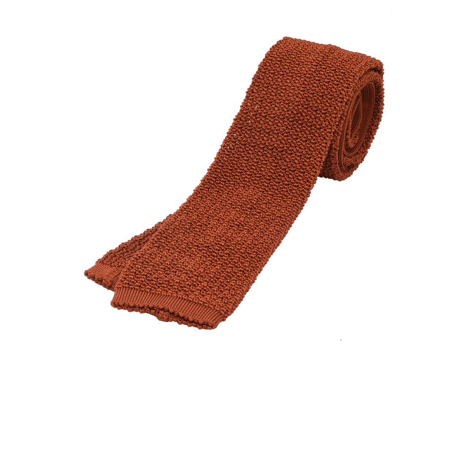 Orange Label | knit silk tie, burnt orange_full