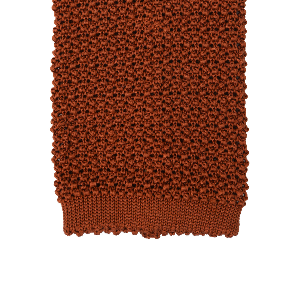 Orange Label | knit silk tie, burnt orange_tip