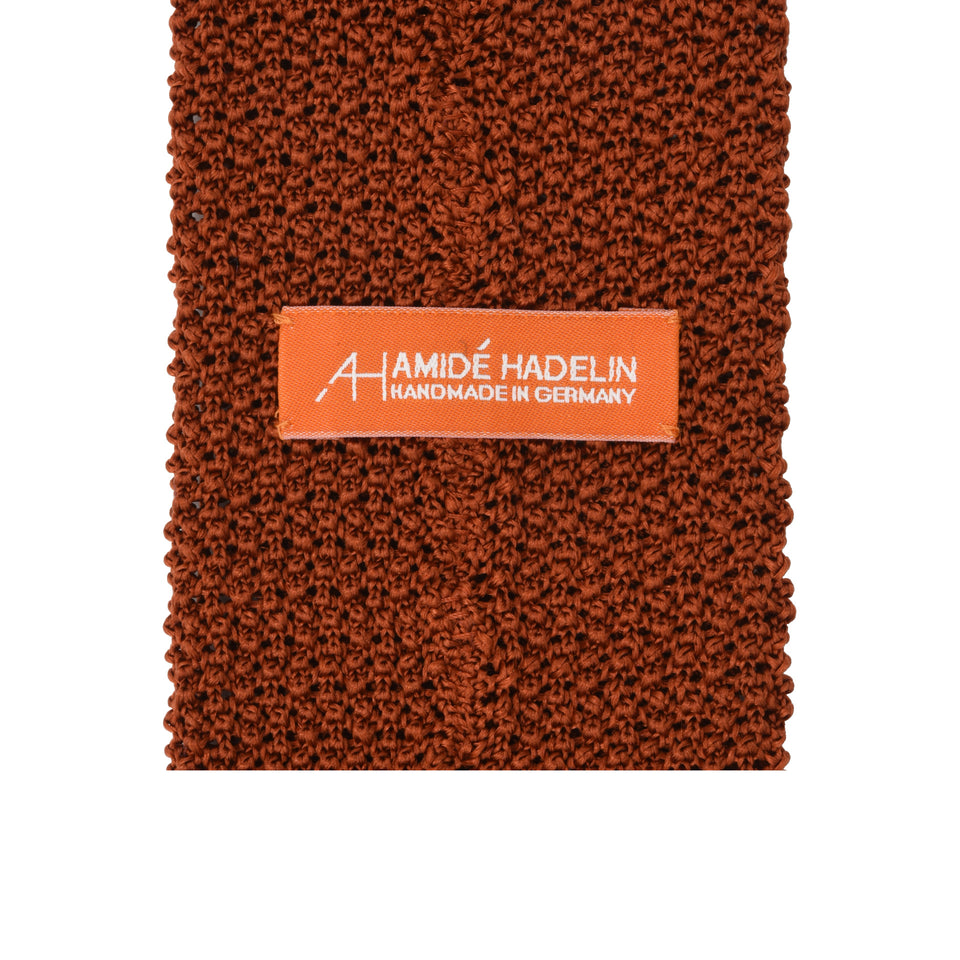 Orange Label | knit silk tie, burnt orange_back