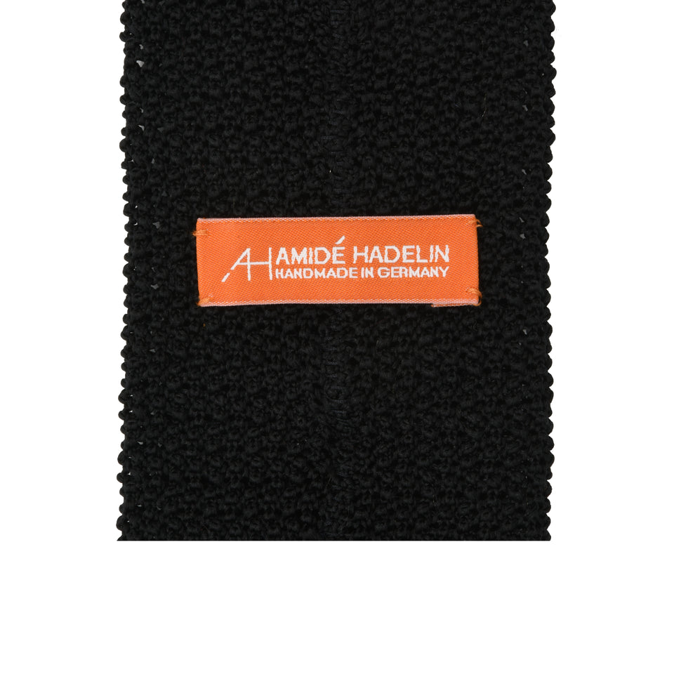 Orange Label | knit silk tie, black_back