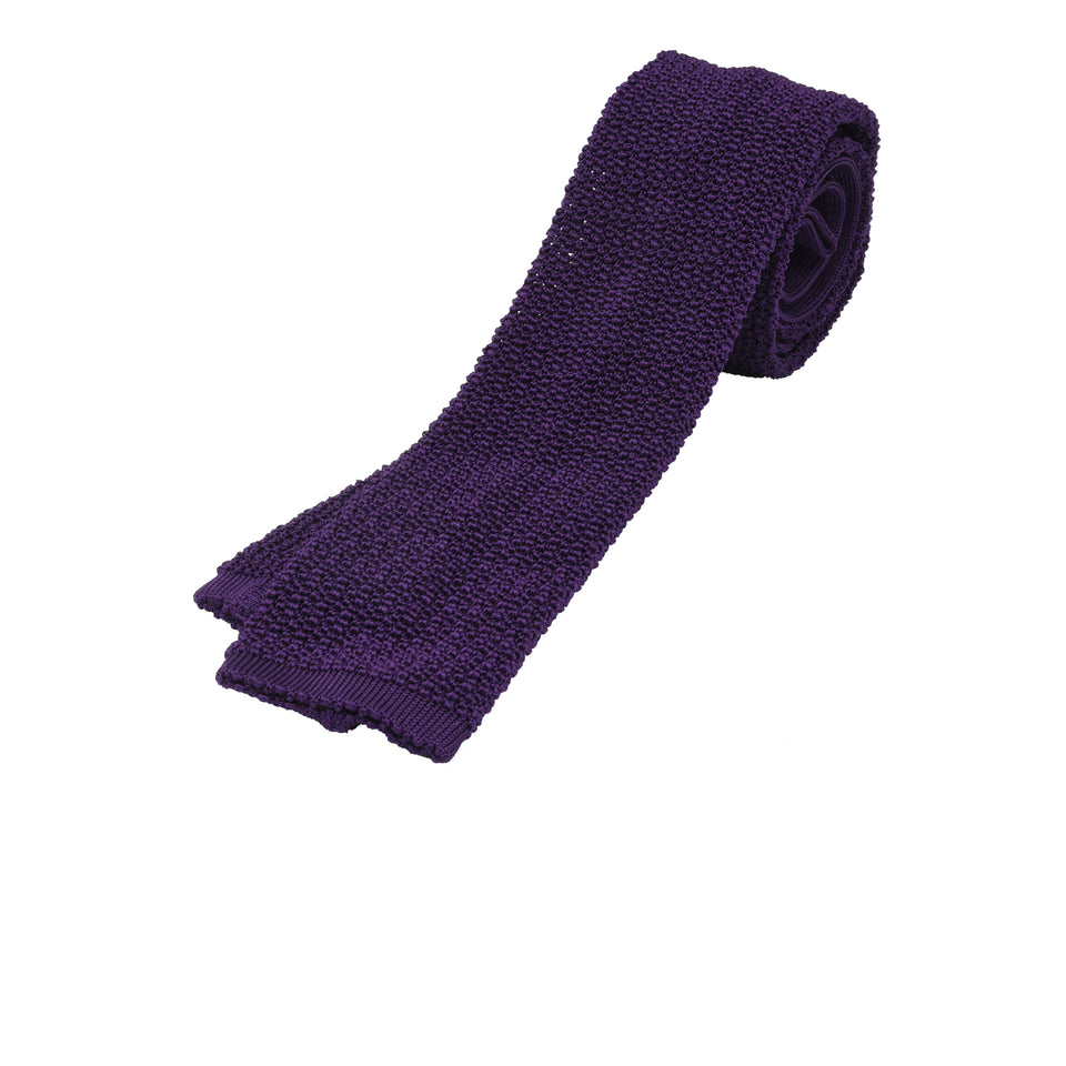 Orange Label | knit silk tie, purple_full