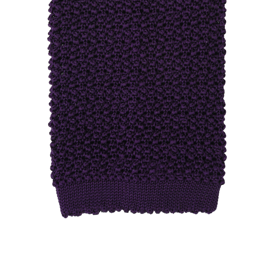 Orange Label | knit silk tie, purple_tip