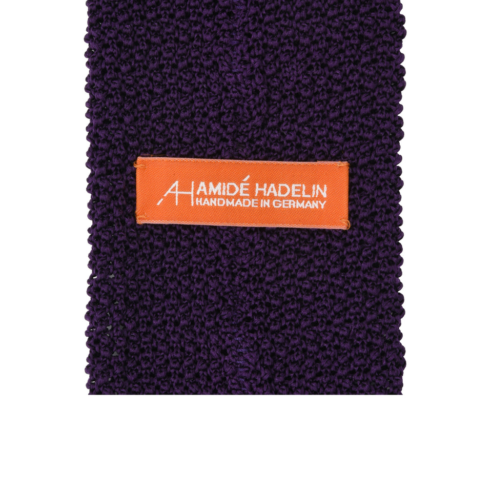 Orange Label | knit silk tie, purple_back