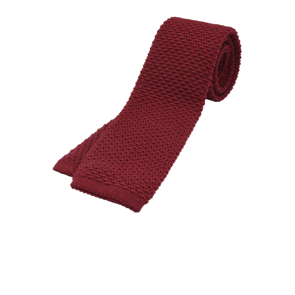 Orange Label | knit wool tie, red_full