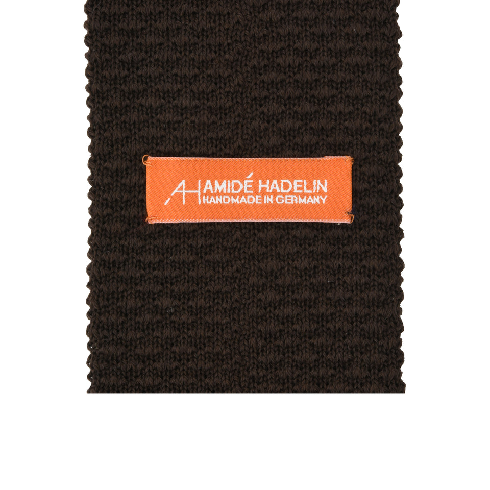 Orange Label | knit wool tie, dark brown_back