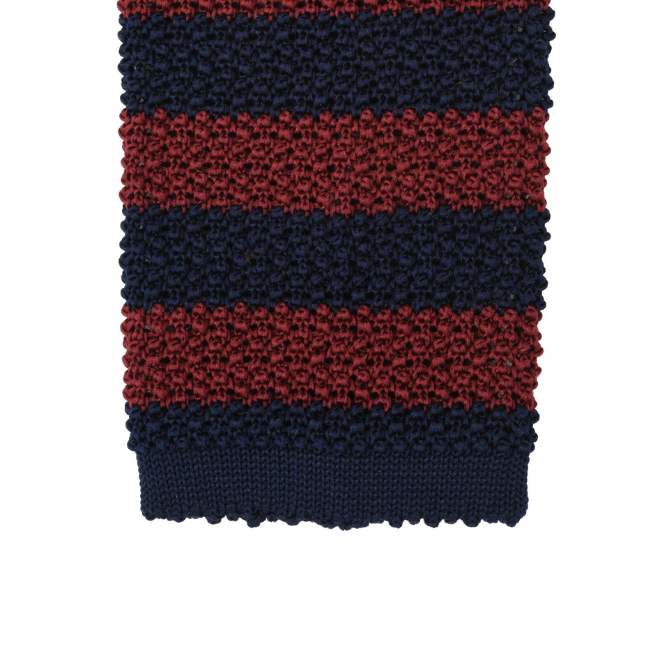 Orange Label | striped knit silk tie, burgundy/navy_tip