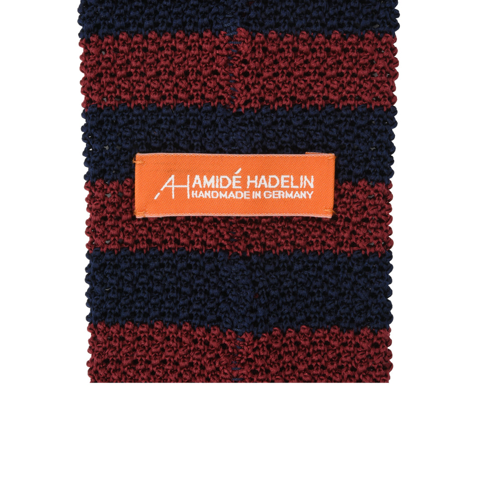 Orange Label | striped knit silk tie, burgundy/navy_back