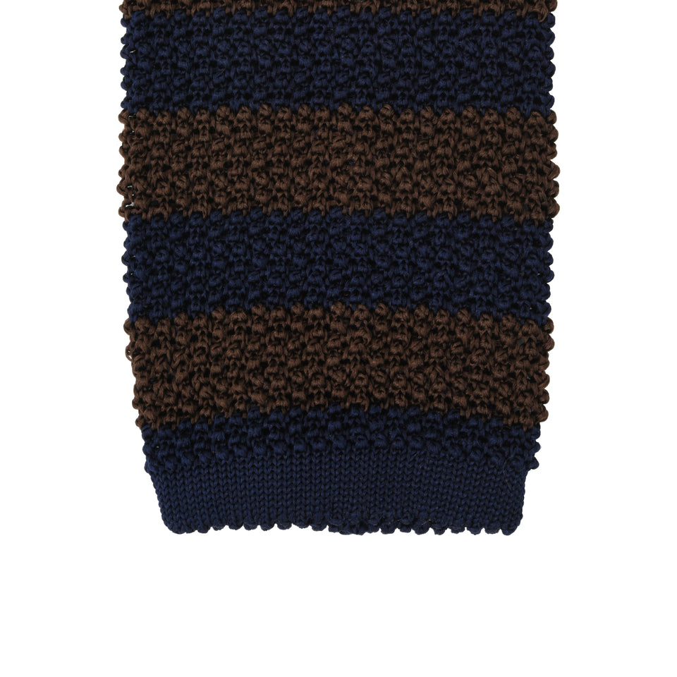 Orange Label | striped knit silk tie, brown/navy_tip