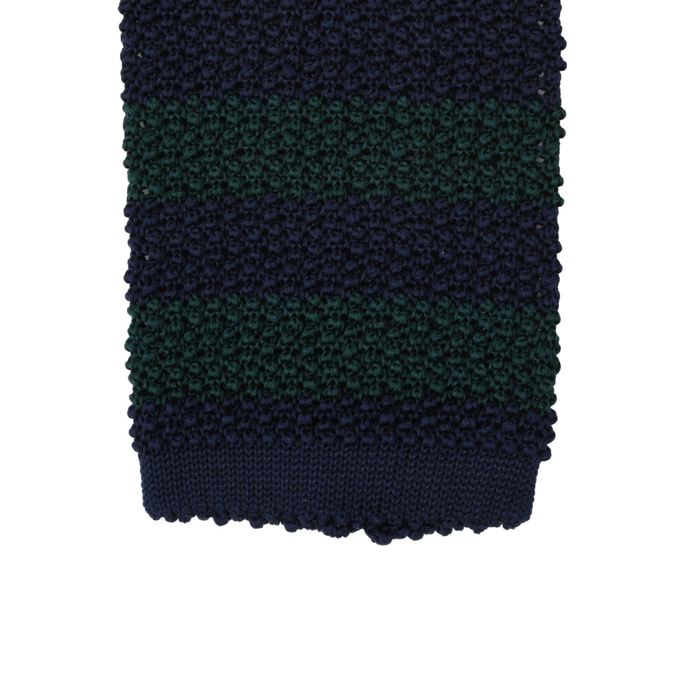 Orange Label | striped knit silk tie, green/navy_tip