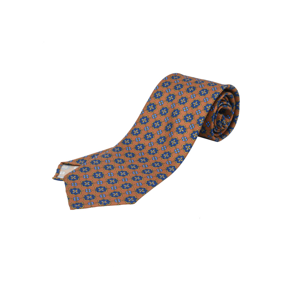 Orange Label | 36oz printed silk tie, light brown_full