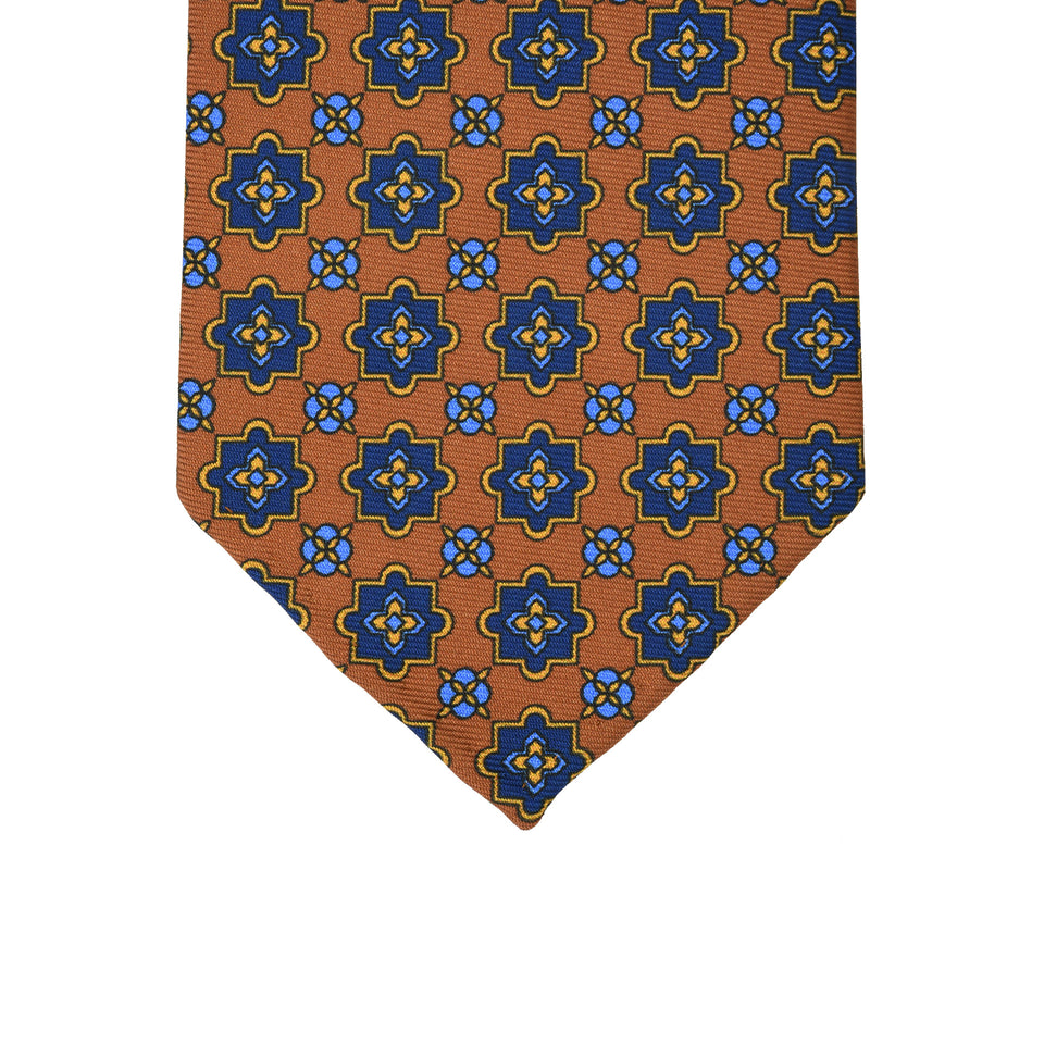 Orange Label | 36oz printed silk tie, light brown_tip