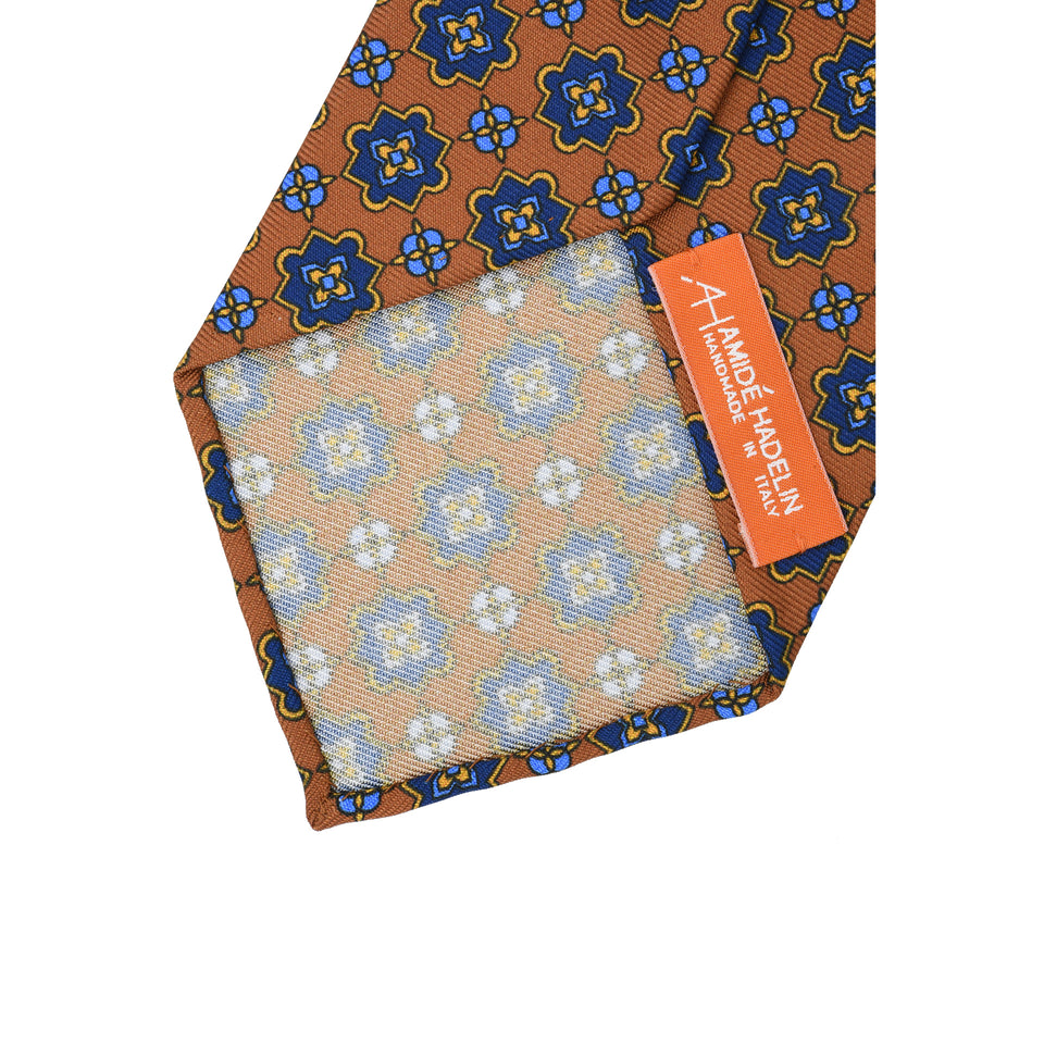 Orange Label | 36oz printed silk tie, light brown_back