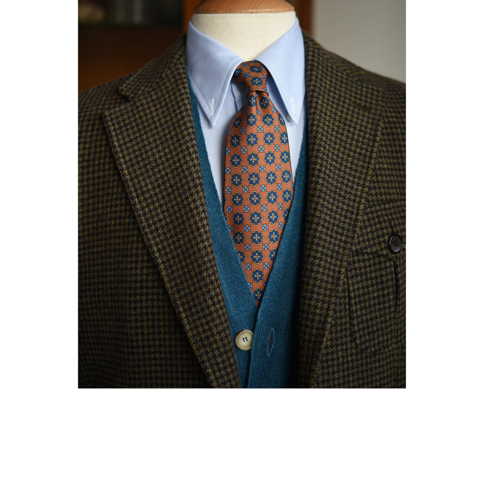 Orange Label 36oz printed silk tie - light brown