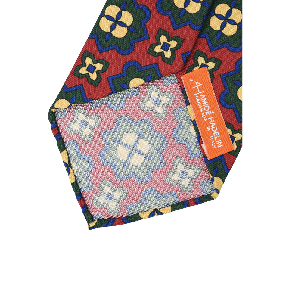 Orange Label | 36oz printed silk tie, red_back