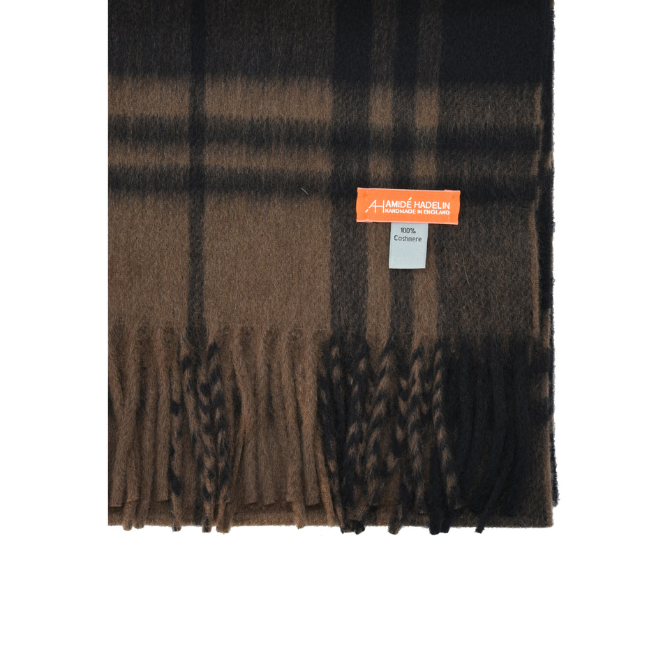 Amidé Hadelin Orange Label | Cashmere scarf, navy/brown plaid_detail