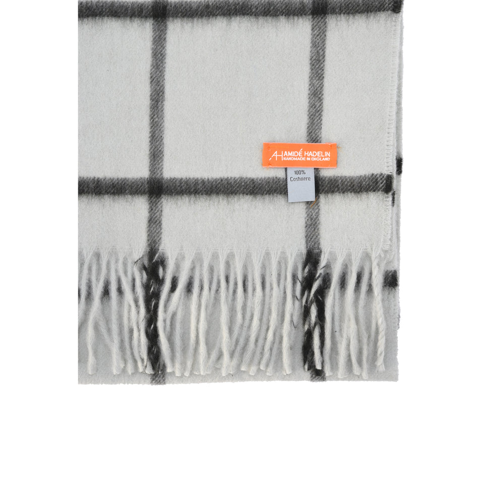 Amidé Hadelin Orange Label | Cashmere scarf, duck egg/alpine windowpane_detail