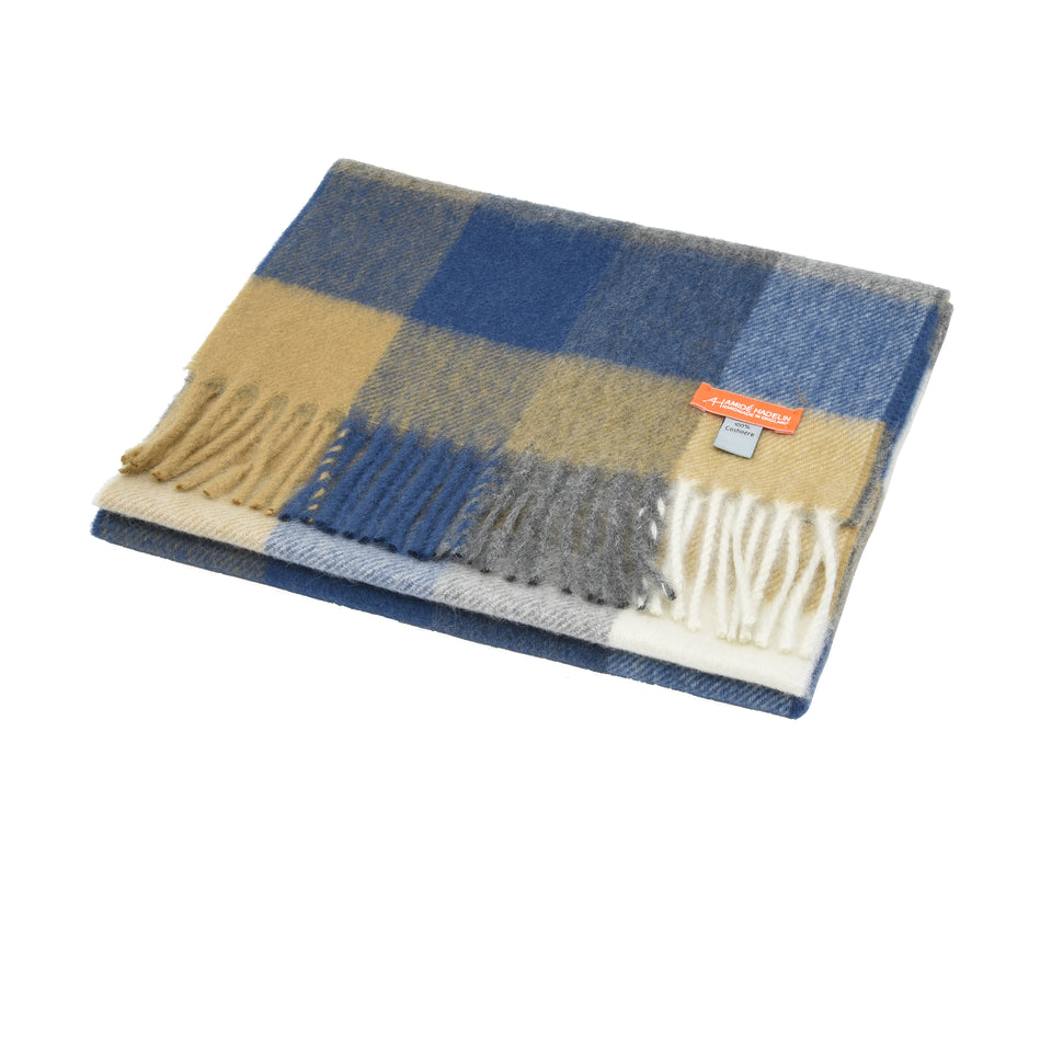 Amidé Hadelin Orange Label | Cashmere scarf, camel/grey/blue block check_full