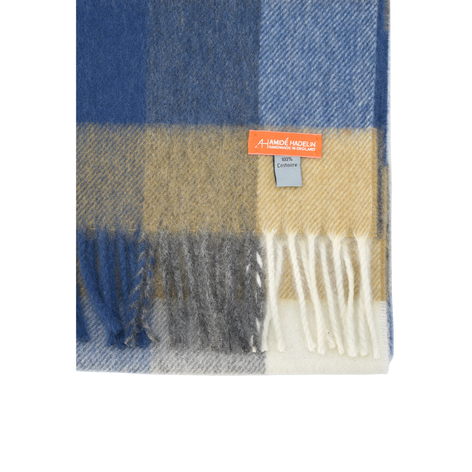 Amidé Hadelin Orange Label | Cashmere scarf, camel/grey/blue block check_detail