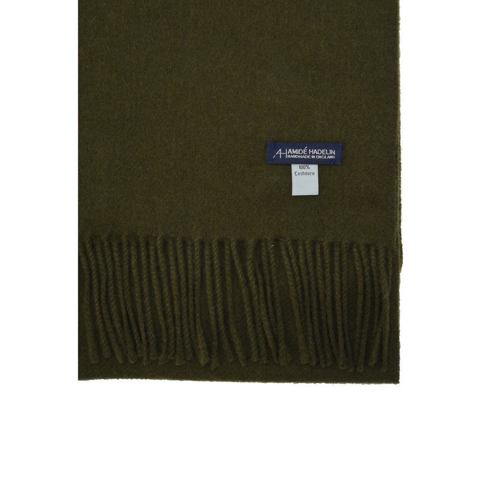 Amidé Hadelin | Cashmere scarf, olive drab_detail