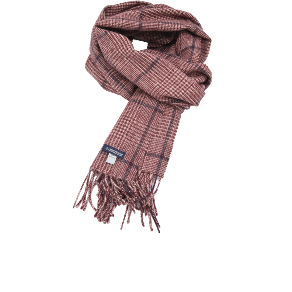 Amidé Hadelin | Cashmere PoW check scarf, cream/crimson/blue_full