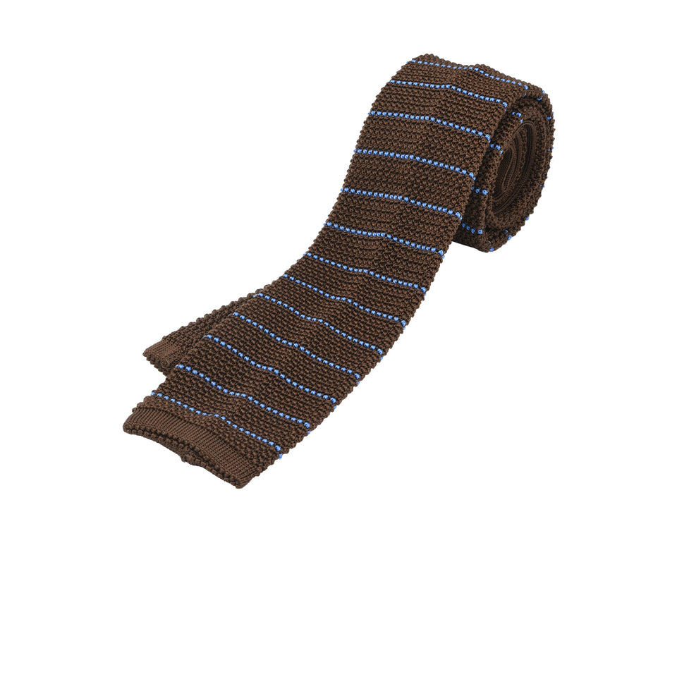 Orange Label | striped knit silk tie, brown/blue_full