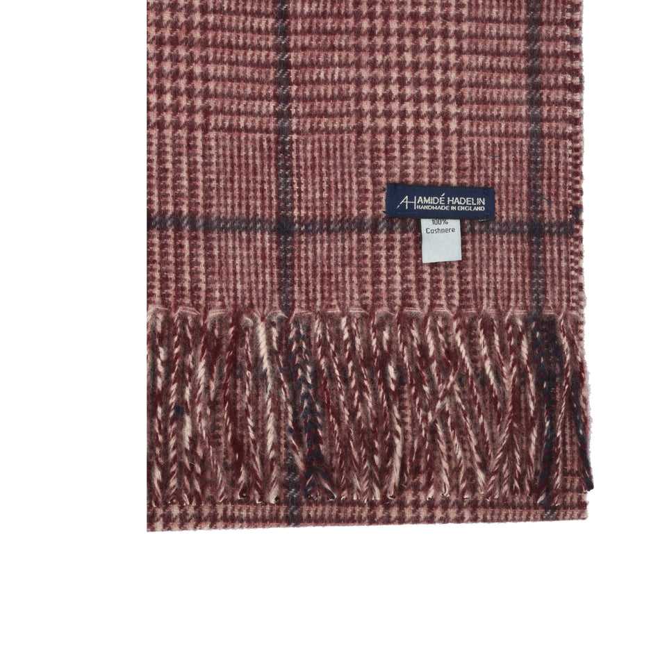 Amidé Hadelin | Cashmere PoW check scarf, cream/crimson/blue_detail
