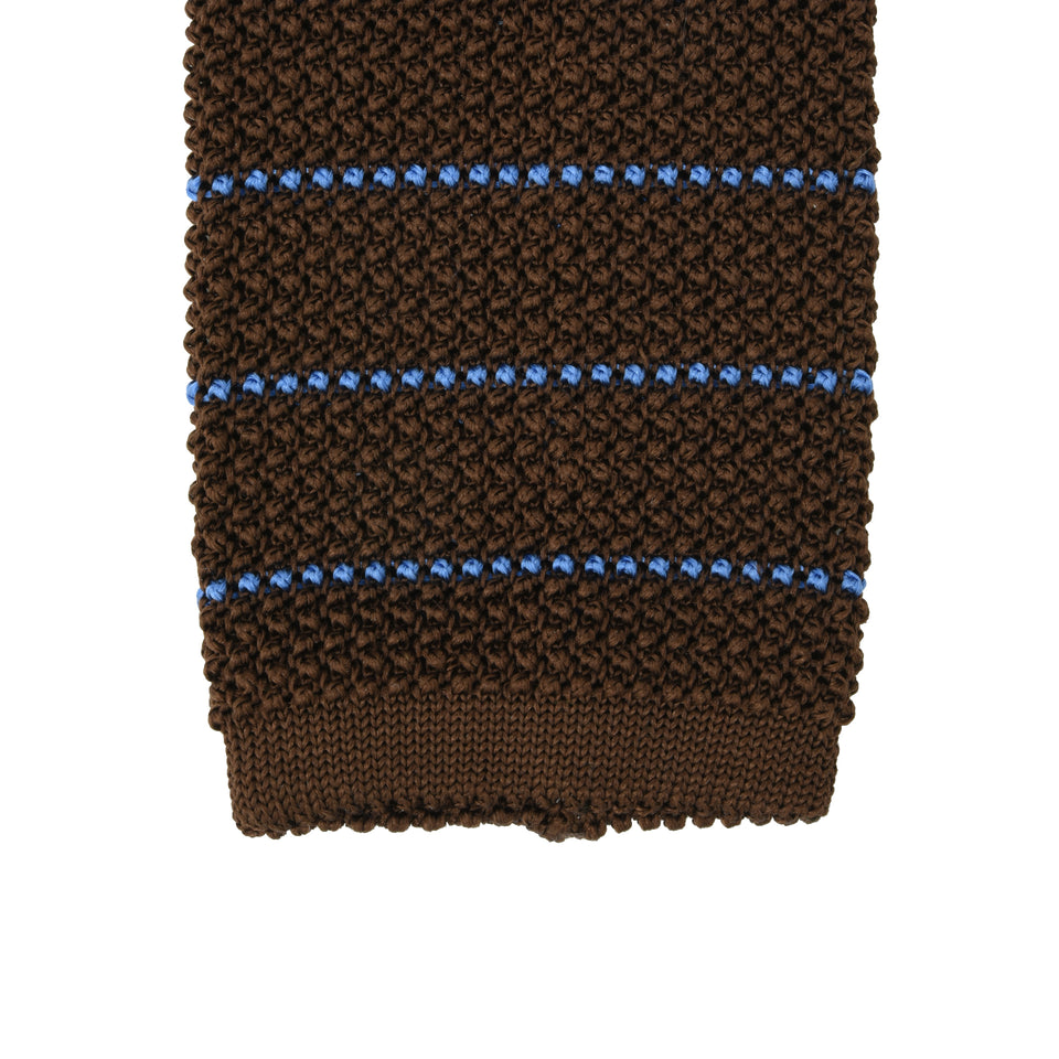 Orange Label | striped knit silk tie, brown/blue_tip