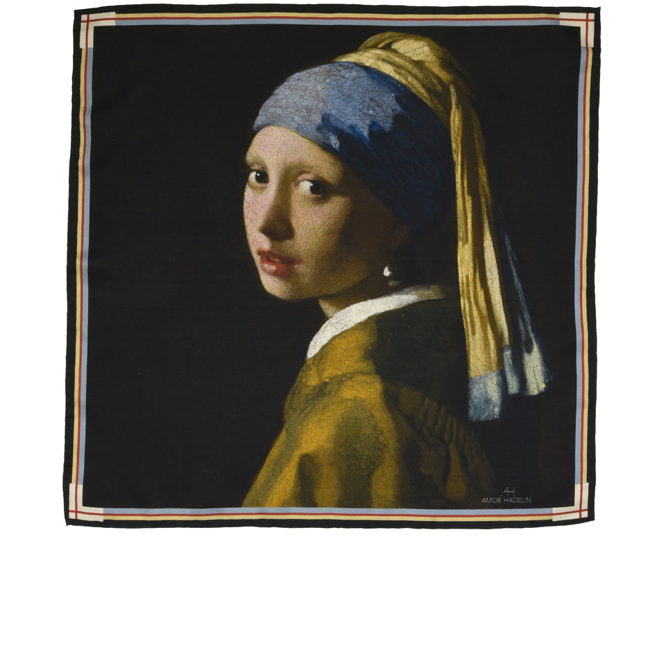 Amidé Hadelin | Johannes Vermeer pocket square 'Girl with a Pearl Earring'_full