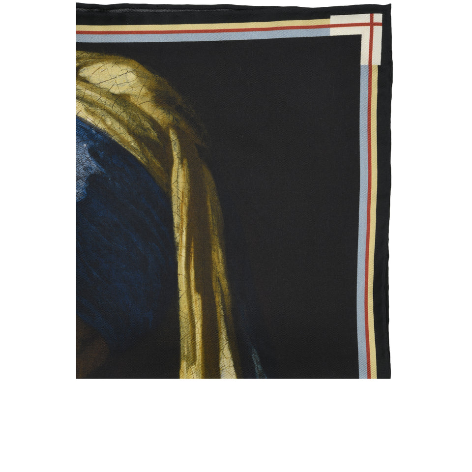 Amidé Hadelin | Johannes Vermeer pocket square 'Girl with a Pearl Earring'_top