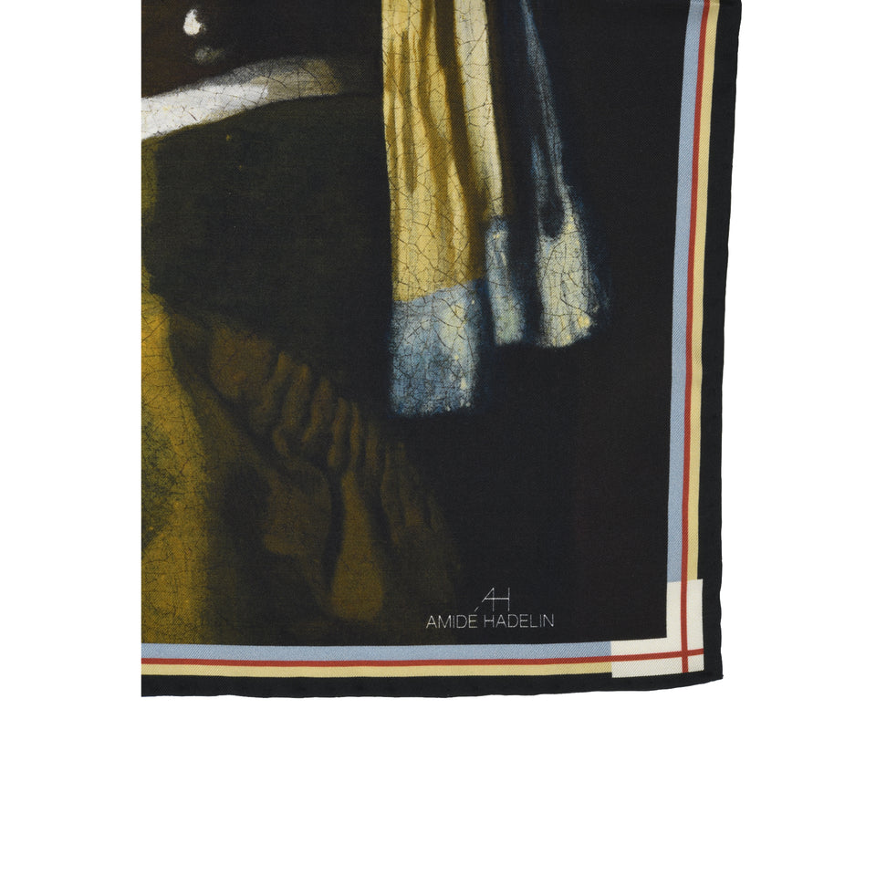 Amidé Hadelin | Johannes Vermeer pocket square 'Girl with a Pearl Earring'_bottom