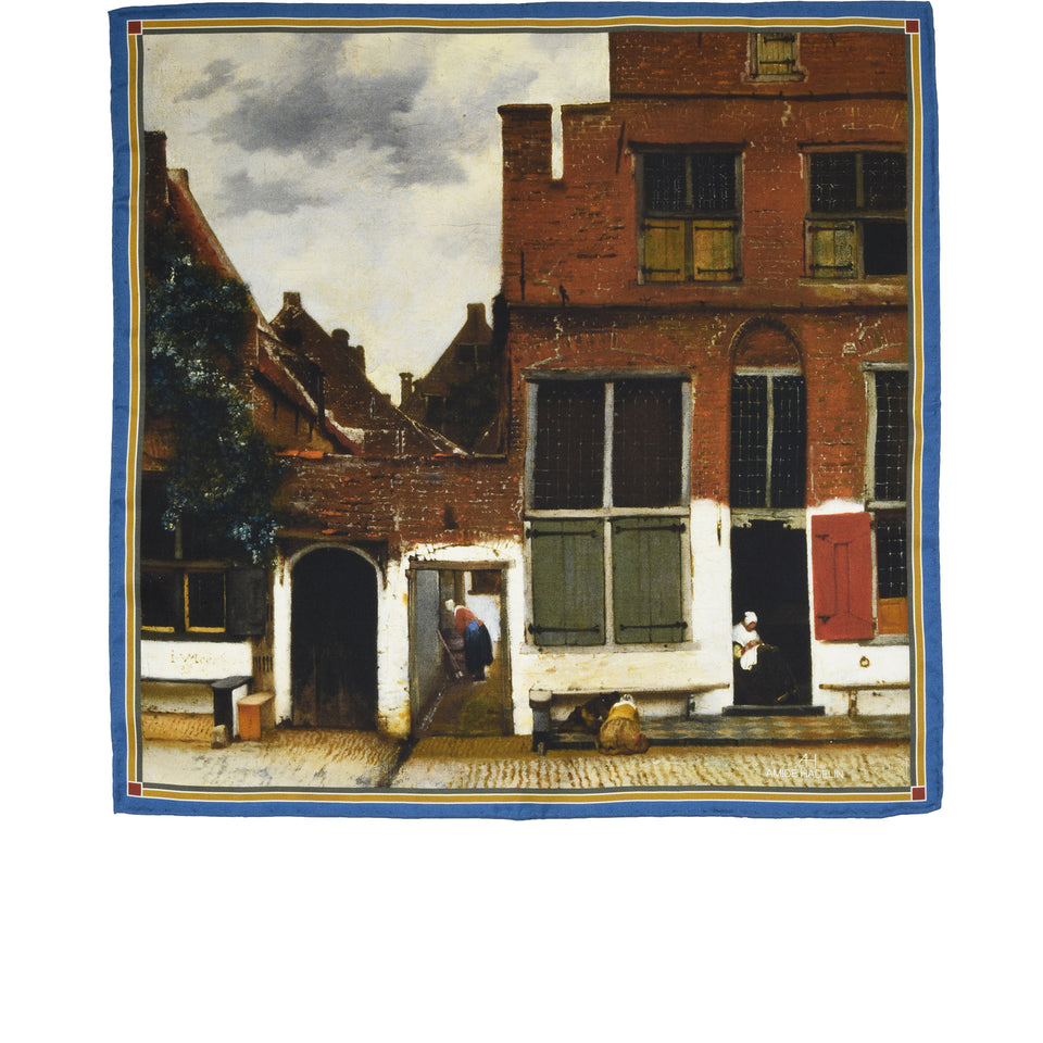 Amidé Hadelin | Johannes Vermeer pocket square 'The Little Street'_full